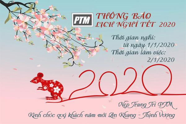 THÔNG BÁO LỊCH NGHỈ TẾT DƯƠNG 2020